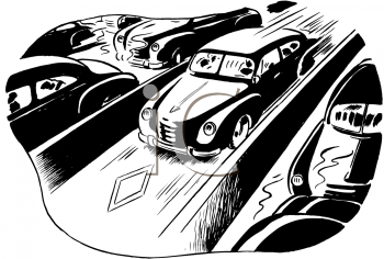 Royalty Free Clipart IMage of a Busy Highway