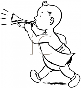 Royalty Free Clipart Image of a Baby Bugler