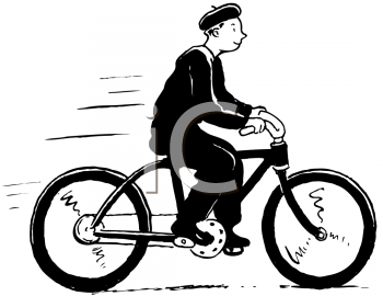Royalty Free Clipart Image of a Bicycler