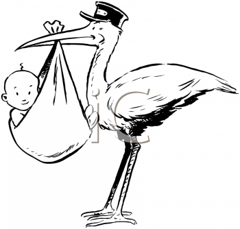 Royalty Free Clipart Image of a Stork Holding a Baby