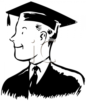 Royalty Free Clipart Image of a Male Graduate