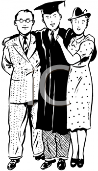 Royalty Free Clipart Image of a Graduate and Parents