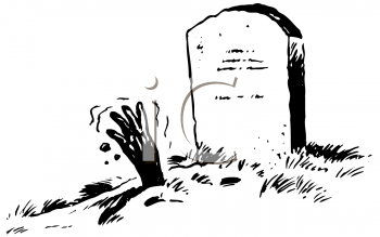 Royalty Free Clipart Image of a Tombstone and a Hand