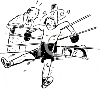 Royalty Free Clipart Image of a Boxer Knocked Out