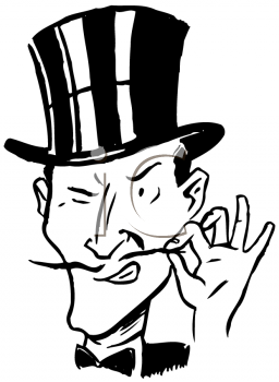 Royalty Free Clipart Image of a Villain in a Top Hat