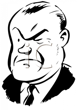 Royalty Free Clipart Image of a Stern Man