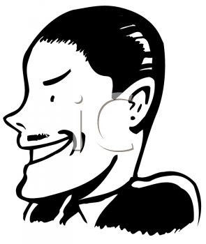 Royalty Free Clipart Image of a Man With Slicked Hair and a Pencil Moustache