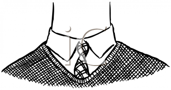 Royalty Free Clipart Image of a Neck in a Tie and Vest