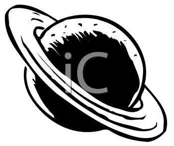 Royalty Free Clipart Image of Saturn on a Tilt