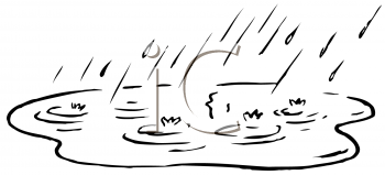 Royalty Free Clipart Image of Rain and a Puddle
