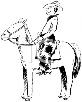 Royalty Free Clipart Image of a Cowboy on a Hors