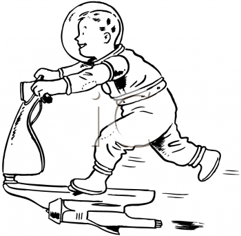 Royalty Free Clipart Image of a Rocket Scooter