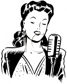 Royalty Free Clipart Image of a Female Singer