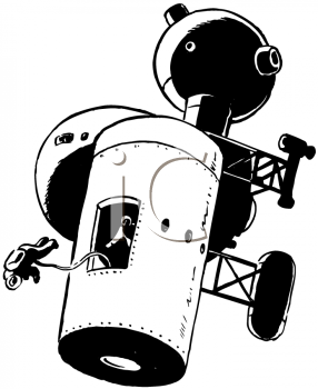 Royalty Free Clipart Image of a Spacewalk