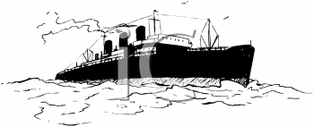 Royalty Free Clipart Image of a Big Ship