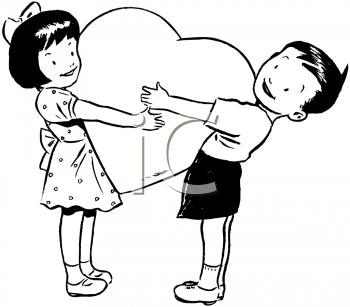 Royalty Free Clipart Image of Two Children Holding a Heart