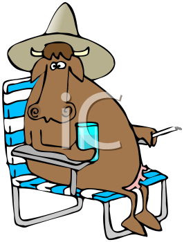 Royalty Free Clipart Image of a Cow Relaxing