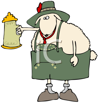 Royalty Free Clipart Image of An Oktoberfest Sheep Raising A Beer Stein