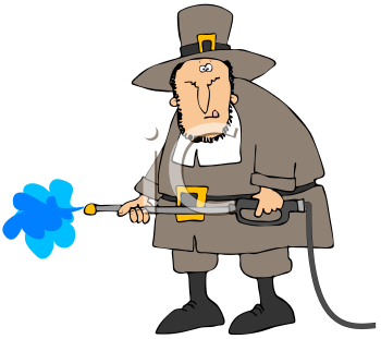 Royalty Free Clipart Image of A Pilgrim With A Pressure Washer