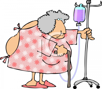 Royalty Free Clipart Image of a Woman Wearing a Hospital Gown