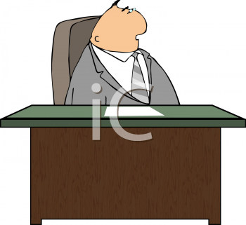 Royalty Free Clipart Image of a Businessman Sitting at a Desk