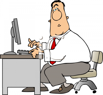 Royalty Free Clipart Image of a Businessman Working