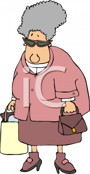 Royalty Free Clipart Image of an Older Woman Shopping