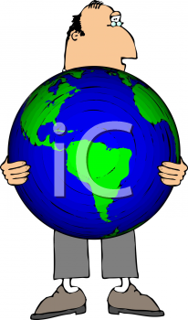 Royalty Free Clipart Image of a Man Holding the World