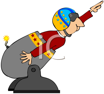 Royalty Free Clipart Image of a Human Cannonball