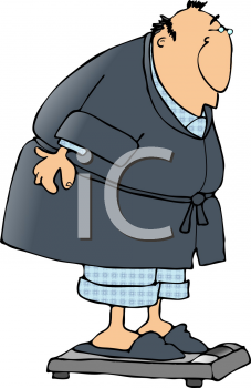 Royalty Free Clipart Image of a Man Weighing Himself