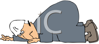 Royalty Free Clipart Image of a Worker Crawling on the Ground