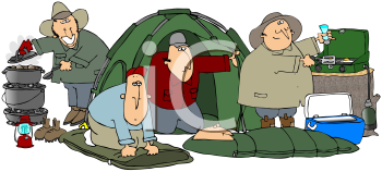 Royalty Free Clipart Image of a Group Of Campers