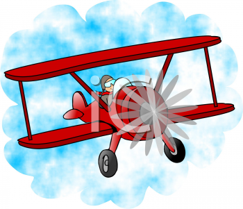 Royalty Free Clipart Image of a Pilot Flying an Airplane