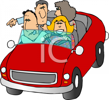 Royalty Free Clipart Image of People in a Car