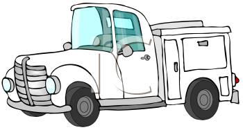 Royalty Free Clipart Image of a White Truck