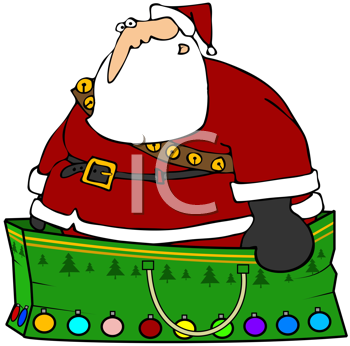 Royalty Free Clipart Image of Santa Claus Standing in his Sack