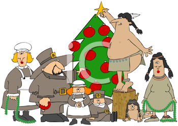 Royalty Free Clipart Image of Pilgrims and Natives Decorating a Christmas Tree