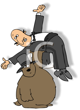 Royalty Free Clipart Image of a Groundhog Holding a Man