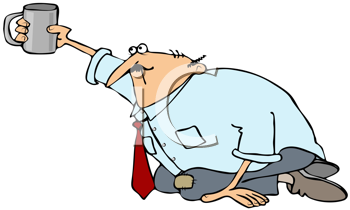 Royalty Free Clipart Image of a Man on His Knees Begging for Coffee
