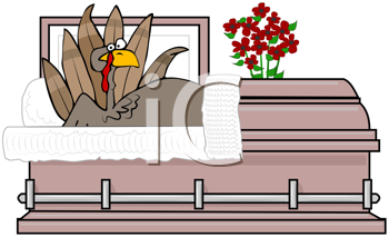 Royalty Free Clipart Image of a Turkey in a Coffin