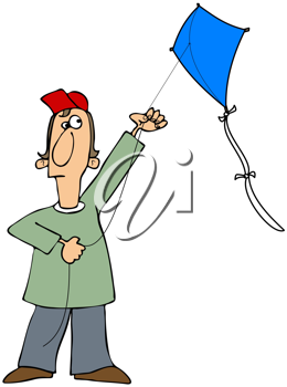 Royalty Free Clipart Image of a Guy Flying a Kite