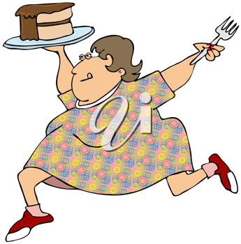 Royalty Free Clipart Image of a Woman With Chocolate Cake