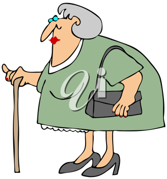 Royalty Free Clipart Image of a Woman With a Cane