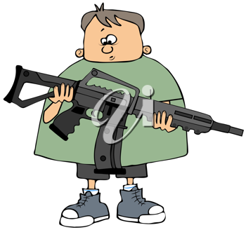 Royalty Free Clipart Image of a Child Holding an Assault Rifle