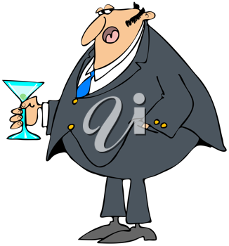 Royalty Free Clipart Image of a Man in Formal Attire Holding a Drink