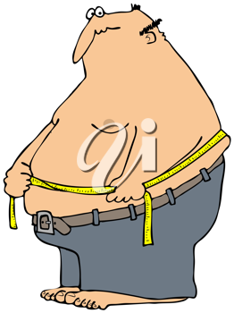 Royalty Free Clipart Image of a Man Measuring His Waist