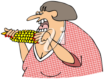 Royalty Free Clipart Image of a Woman Eating Corn on the Cob
