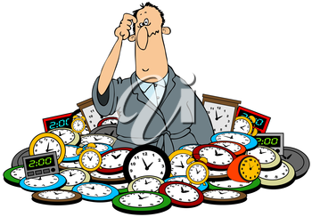 Royalty Free Clipart Image of a Man Surrounded by Clocks