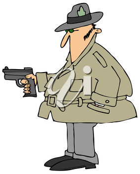 Royalty Free Clipart Image of a Man Pointing a Gun