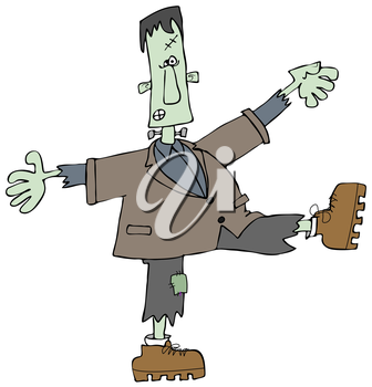 Royalty Free Clipart Image of a Dancing Monster